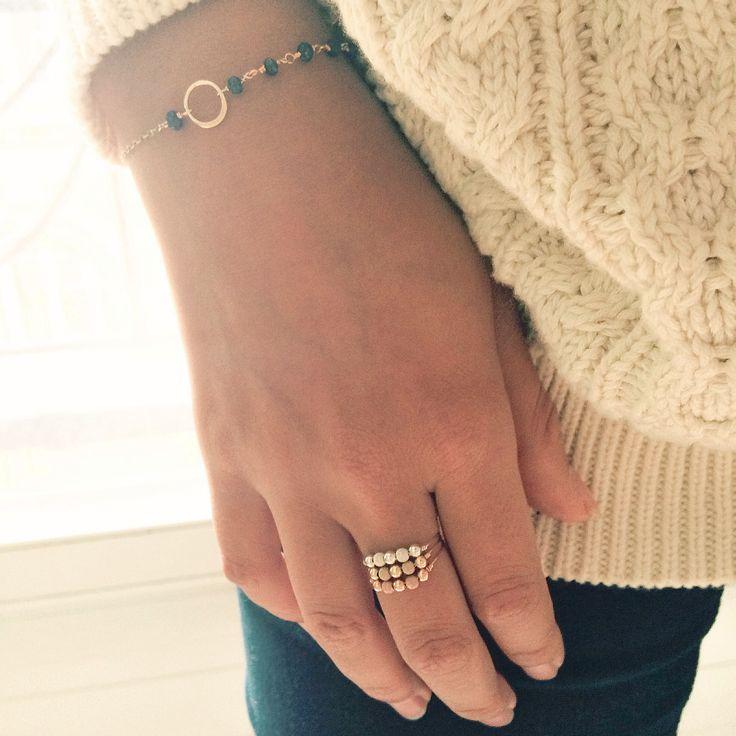 Bagues Fruits d'or les 3 ors et bracelet Précieuses asymétrique lapis lazuli // YAY - You Are Young