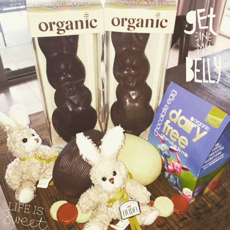 Happy Easter.  Organic chocolate Easter Bunny and Eggs