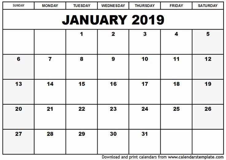 2019 January Printable Calendar Free January 2019 Calendar