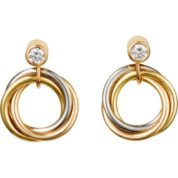 CARTIER Sweet Trinity 18ct gold and diamond earrings ($2,015) ❤ liked on…