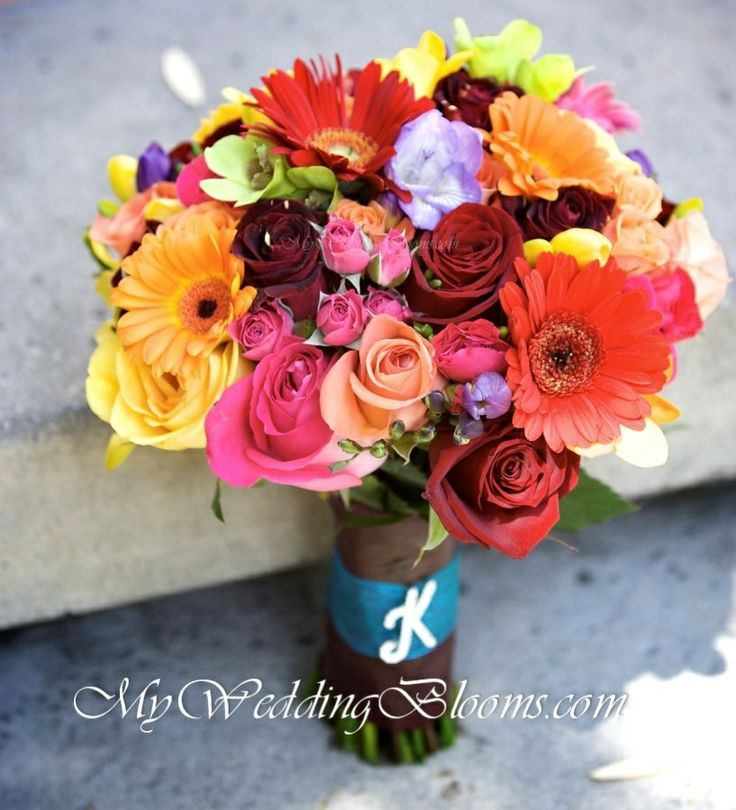 Wedding Flowers Lincoln: Beautiful Tropical Bridal Bouquet, Hand Tied With Initial