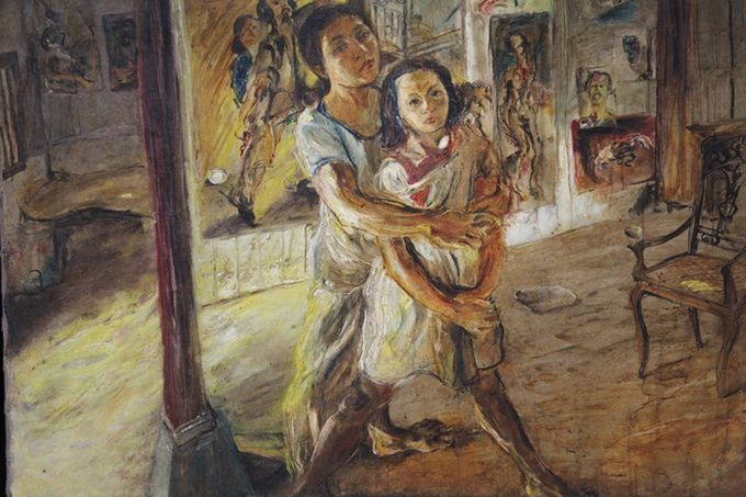A portrait of Kartika with her mother Maryati, painted by Kartika's father Affandi (1907-1990)