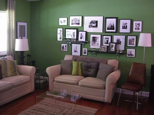Lighting Green Living Room Ideas in Wall Decoration | Home Design Gallery