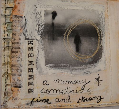 love the layout of this - the string around the faded image - goes perfectly with the theme of memory... holding on to memories as they begin to fade...
