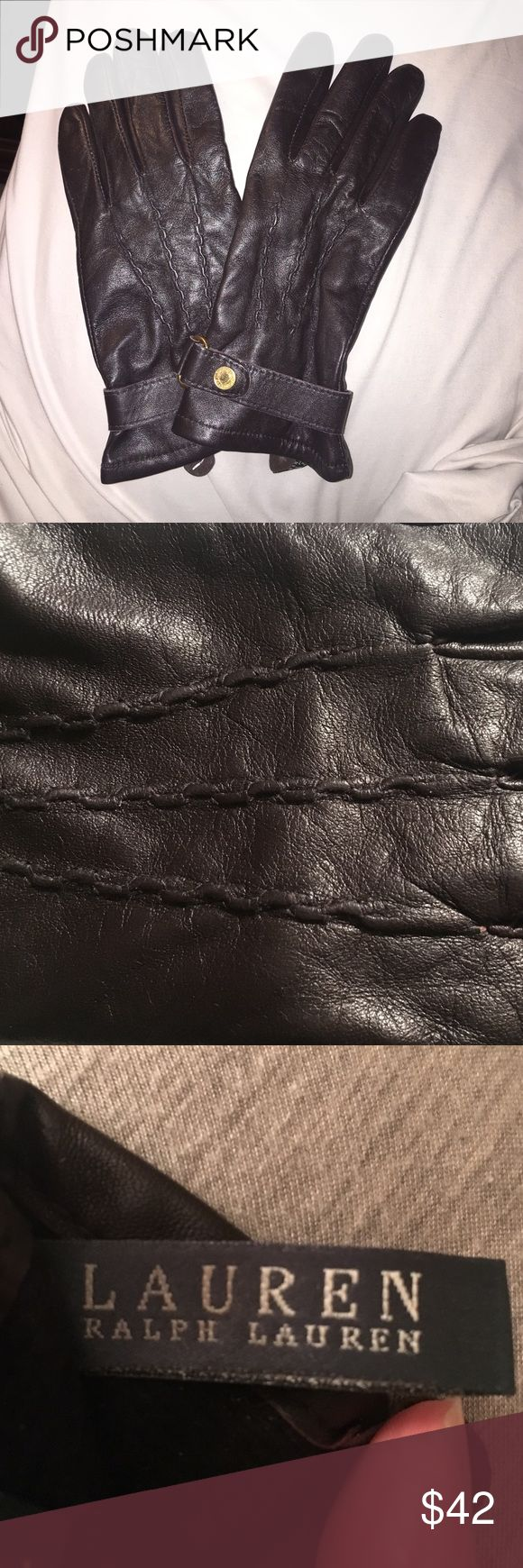 Extra small ladies leather gloves uk - Ralph Lauren Small Dark Brown Leather Gloves