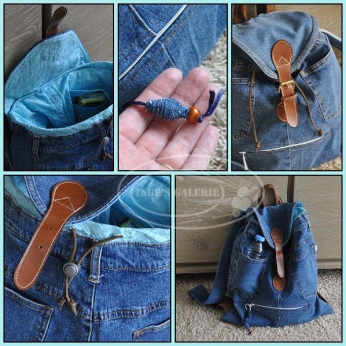 Van een oude spijkerbroek heb ik deze leuke rugzak gemaakt. Sluiting komt weer van een andere oude tas. In de zak is een oude blouse verwerkt. Zo heb je gelijk binnenzakken. Recycle!