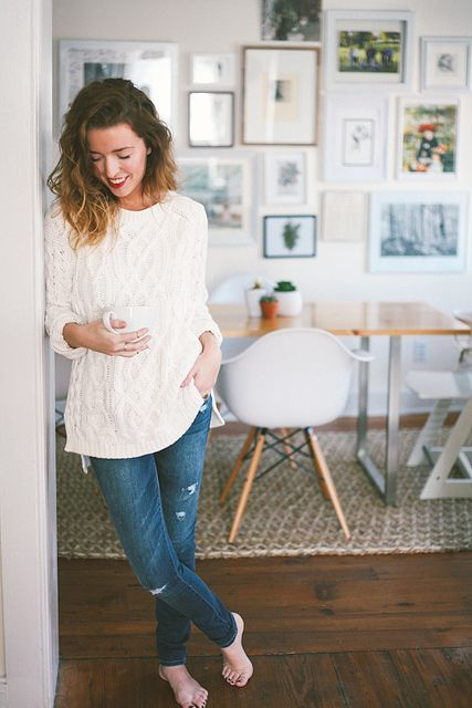 Sweater and denim - cream + slightly destroyed denim