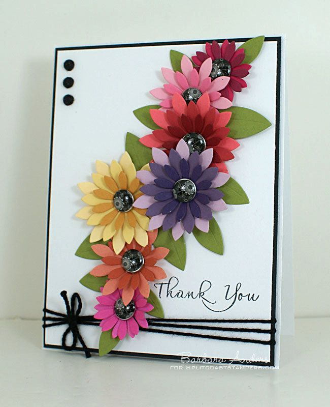 Thank You card with paper punched flowers