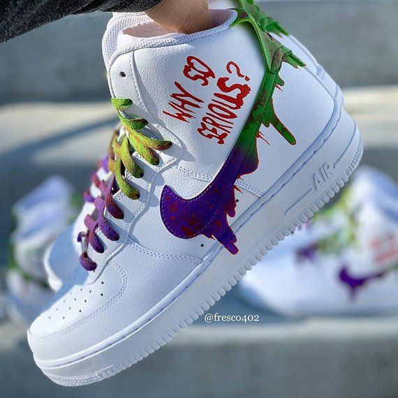 Custom Joker Nike Air Force 1s | Custom nike shoes, Custom ...