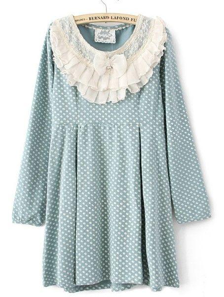 Blue Polka Dot Ruffles Neck Cotton Blends Dress $32.96