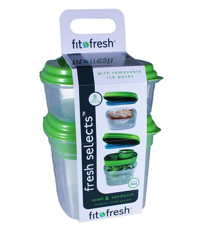 Fit & Fresh Sandwich and Salad Lunch Containers with Reusable Ice Pack
