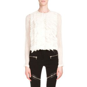 Givenchy Long-Sleeve Ruffle-Front Top