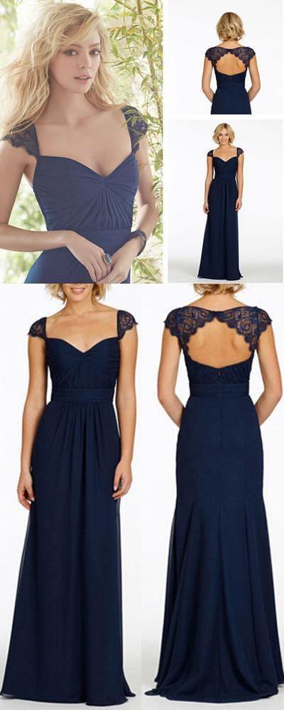 Navy Blue Long Dresses, Open Back Cap Sleeve, Chiffon Bridesmaid Dress,233