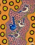 "Artist: 		KROCETTE    Title: 		""Superb Fairy-Wrens""    	A male superb fairy wren in his fluorescent breeding colours too attract a mate.      Medium:	Acrylic on Canvas    Price: 		$590    Size: 	355 x 280mm    Signed: 		KROCETTE 2012  Kidogo Art Institute - Gallery"