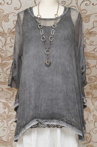 DIVERSE GREY 2PIECE TUNIC DRESS BOHO LAGENLOOK TOP WITH BEAUTIFUL EMBROIDERY | eBay