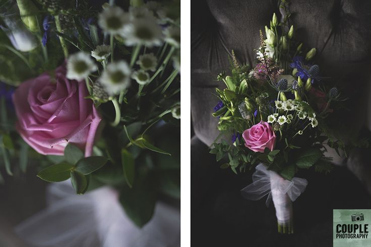 The bride's bouquet tied with tulle netting. Weddings at Tulfarris Hotel & Golf Resort photographed by Couple Photography.