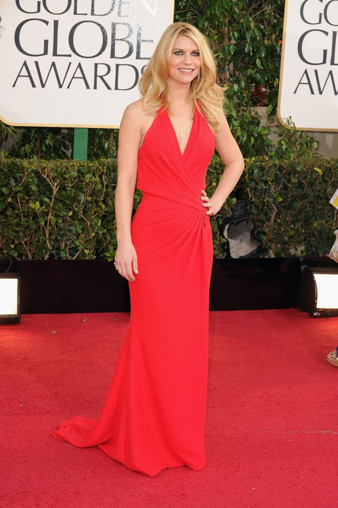 Claire Danes on the Golden Globes 2013 Red Carpet - big, beautiful blonde hair!