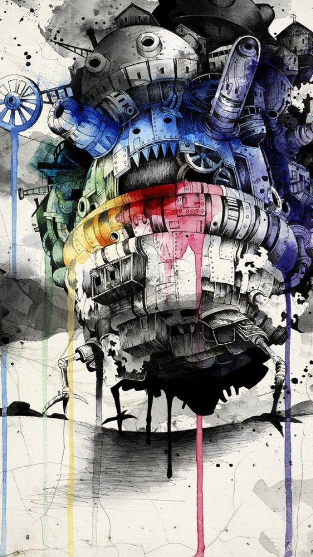 Howl's Moving Castle #graphic #art #ghibli iPhone wallpaper - @mobile9