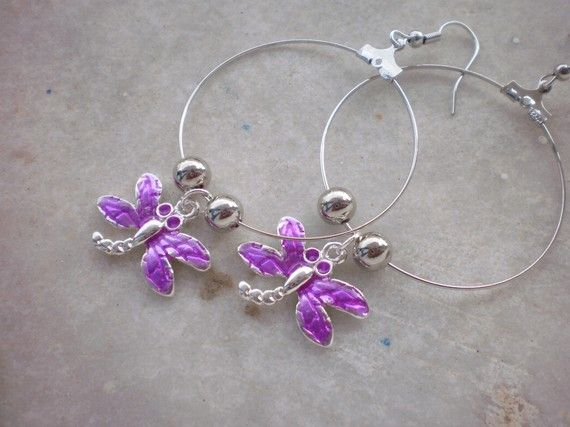 Hoops  Purple Dragonflies by katerinaki106 on Etsy, $7.50