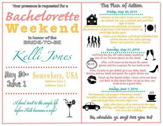 13 best Bachelorette Parties images on Pinterest Bachelorette - wedding weekend itinerary template