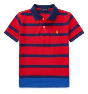 Ralph Lauren Striped Cotton Mesh Polo Shirt Signal Red Multi 2T