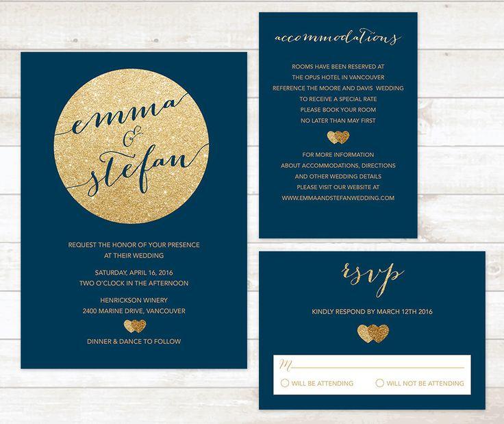Navy And Gold Wedding Invitation Set, Wedding Invitation Rsvp Card  Accommodation Card Set Printable Modern Digital Wedding Invite Set