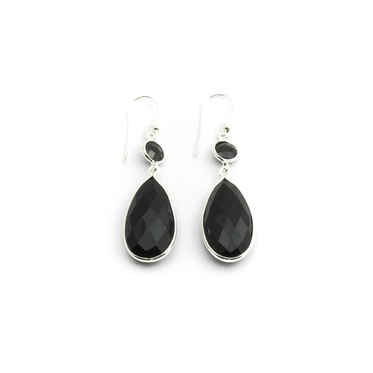 Dubbele zwarte oorbellen met onyx edelsteen in sterling zilver