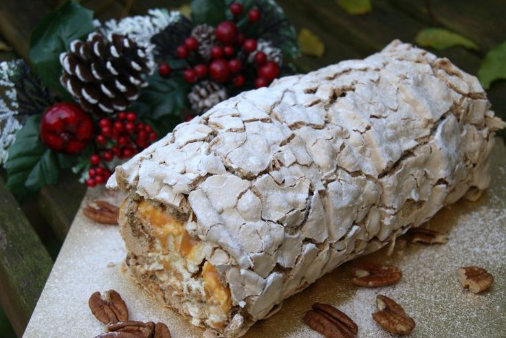 Caramel Pecan Roulade With Egg Whites