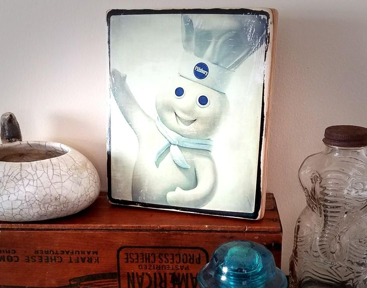 Pillsbury Dough Boy Hand Printed on Wood Original Handmade Photo Art Vintage Sign Advertising Home Decor Vintage Kitchen Art by FotoBloc on Etsy