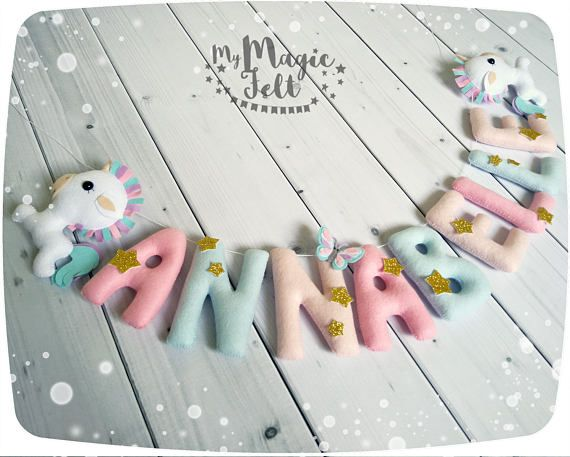 Felt name banner Unicorn nursery garland Baby name Unicorn bedroom decor Personalized name banner Baby girl nursery name banner ✂ MAKING TIME is 6 weeks ✈ Delivery time is 2-4 weeks depending on your location ★.•* • . How to order . • *•.★ ● Please select the number of letters