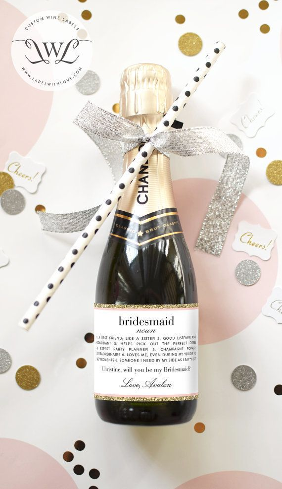 Pop the question to your bridesmaids with a bottle of bubbly! | LabelWithLove/Etsy