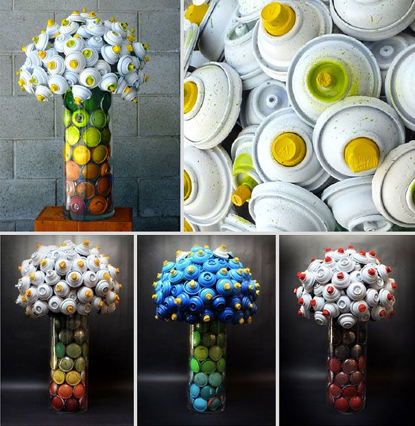 Spray paint cans crafted into flower arrangements by Hillary Coe. We certainly have lots of empty cans . . .