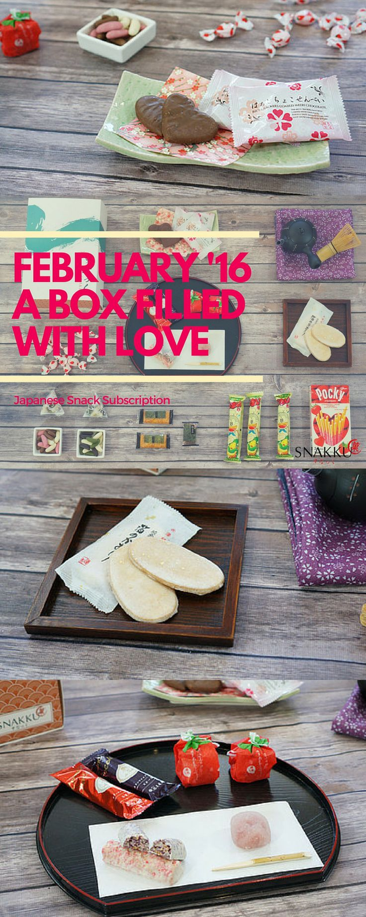 Our February Japanese snack box was filled with love! Featuring strawberries and chocolate, we have strawberry mochi, heart-shaped chocolate sense, okaki crackers with real gold flakes and more!