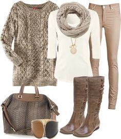 Fall weather is here.  I love this outfit, but I would change the style of the boots.