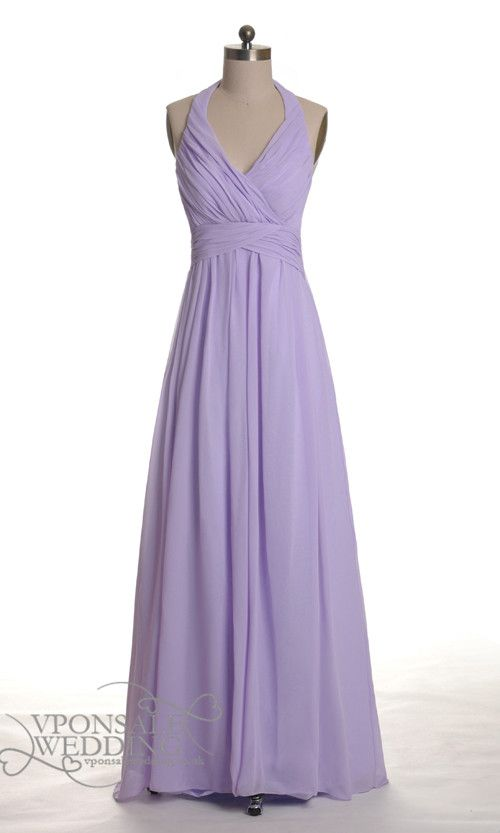 Long Halter Lavender Bridesmaid Gown DVW0030 | VPonsale Wedding Custom Dresses