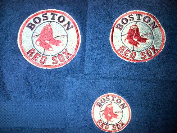 items similar to boston red sox mlb embroidered logo 3 piece blue towel set on etsy - Boston Red Sox Bath Accessories