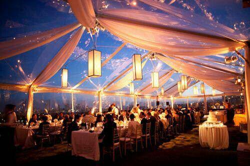 Enclosed outdoor wedding reception