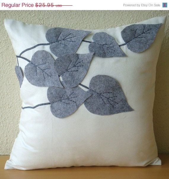 ON SALE Decorative Throw Pillow Covers Accent Couch Sofa Pillow 16x16 Inches White Suede Pillow with Grey Felt Embroidered Winter Leaves Hom