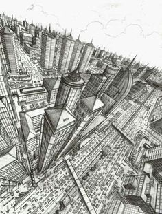 three point perspective city overhead - Google Search