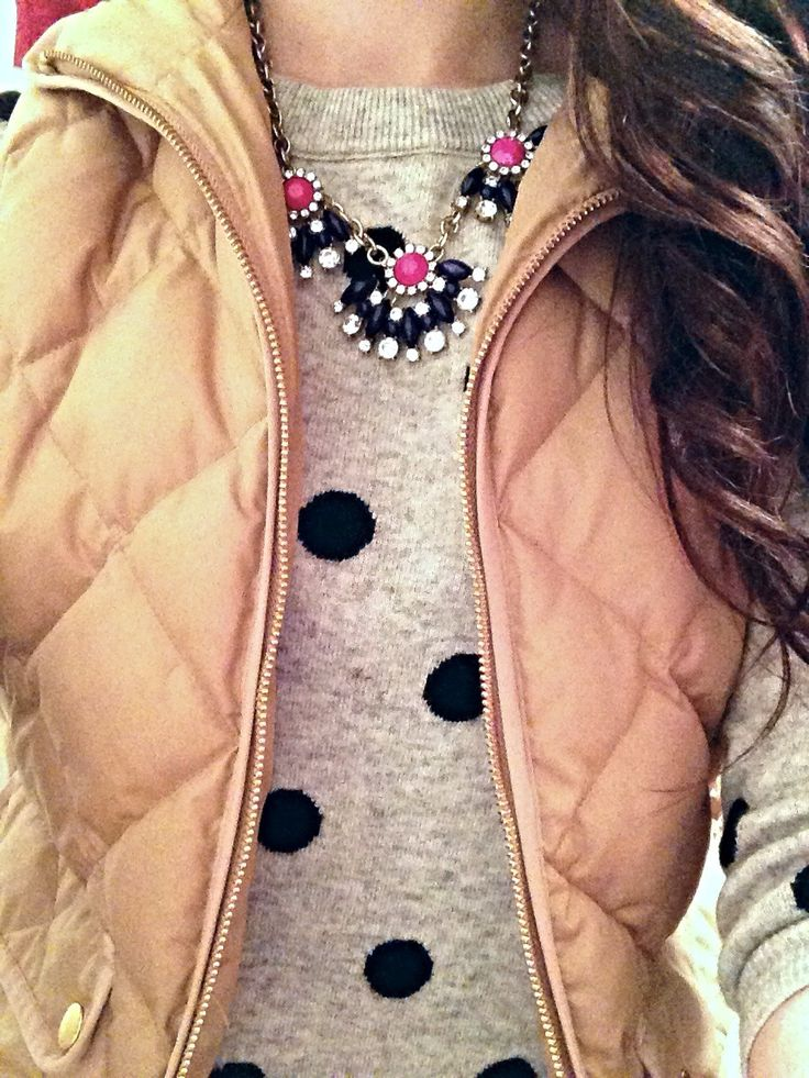 Camel vest, gray polka dot sweater, statement necklace