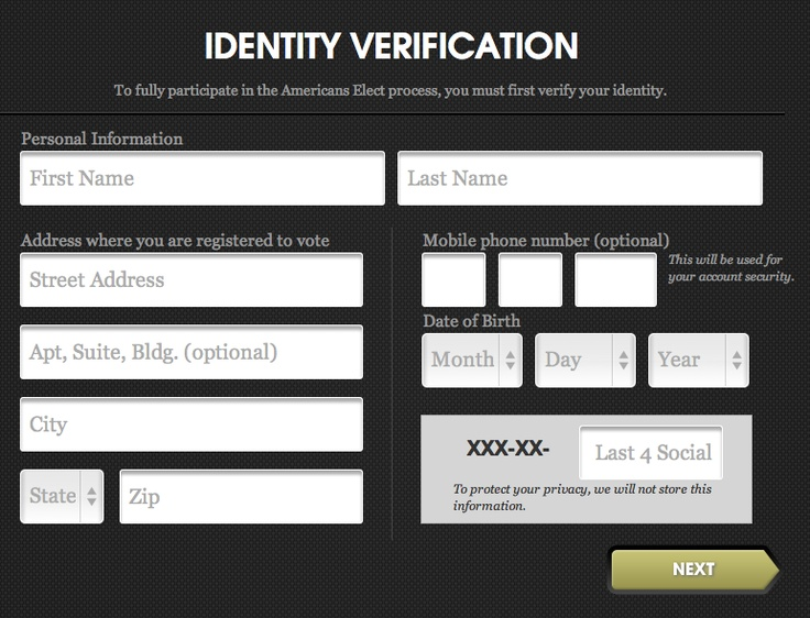 identity verification form, with very large fields, from