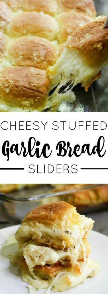 Ooeey gooey, buttery and cheesy these Cheesy Stuffed Garlic Bread Sliders are seriously delicious.