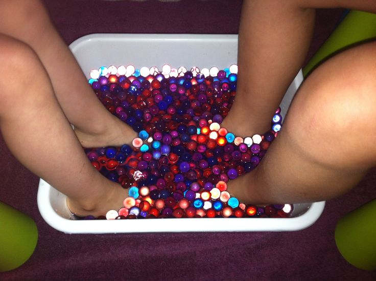 Water Beads Foot Spa Same effect as the one advertised on TV, but much cheaper. Grow the water beads in a dollar store dish pan overnight. (Water beads are available for $2 in the floral section at Walmart - I used two packs.). Remove excess cold water, and add warm water when ready to use. I also added one tbsp of bleach which will sanitize approximately 12 cups of water. The girls love the sensory experience, and I love the price :)