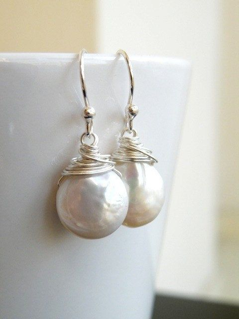 Wedding Jewelry Bridal Pearl Earrings Coin Pearl Wire Wrapped Sterling Silver Dangle Earrings - GemE5
