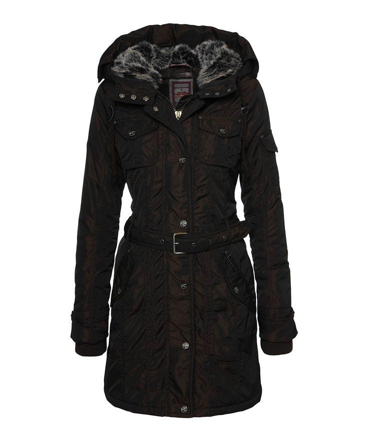Dark brown belted parka  Sale - DreiMaster
