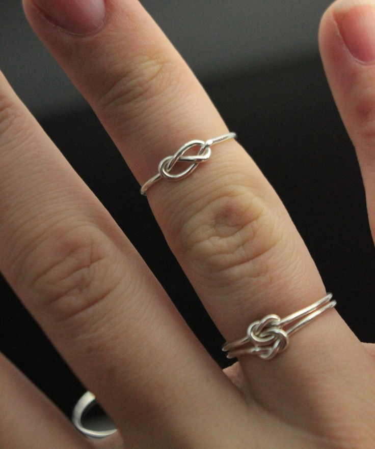 Infinity ring. Sterling Silver knot ring. Fashion trend first knuckle ring. Best friends jewelry, sister ring, promise ring. Dainty ring. $23.00, via Etsy.