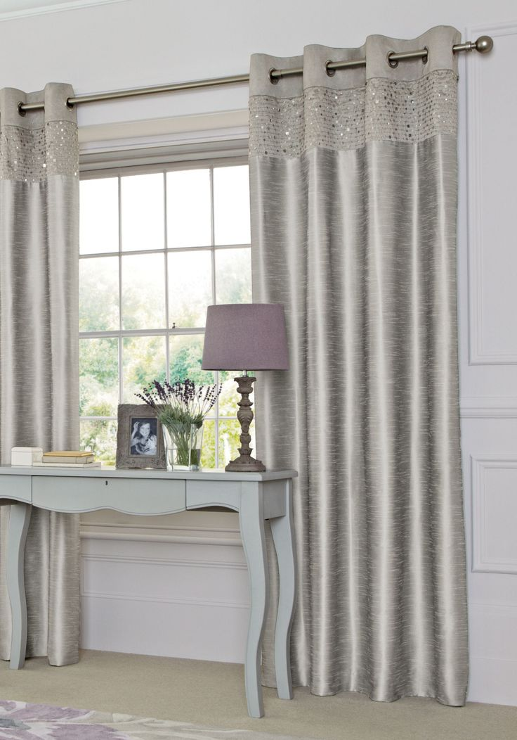 Buy Silver Sequin Banded Eyelet Curtains From The Next UK Online Shop