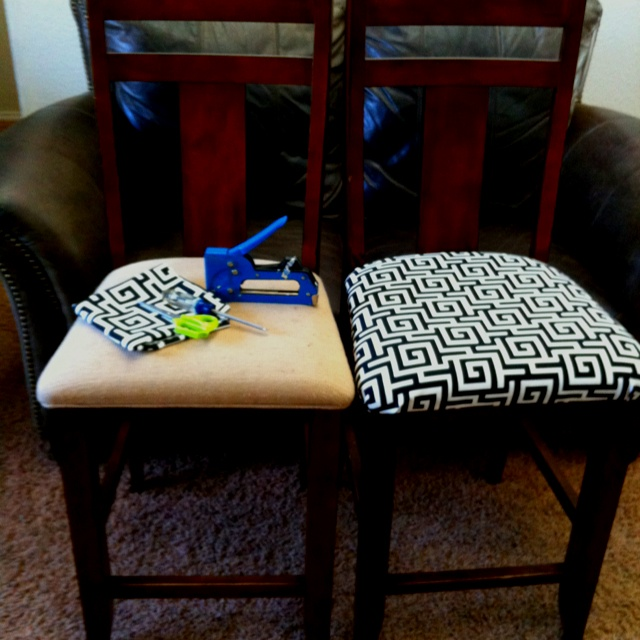 dining chair cushions recover before and after
