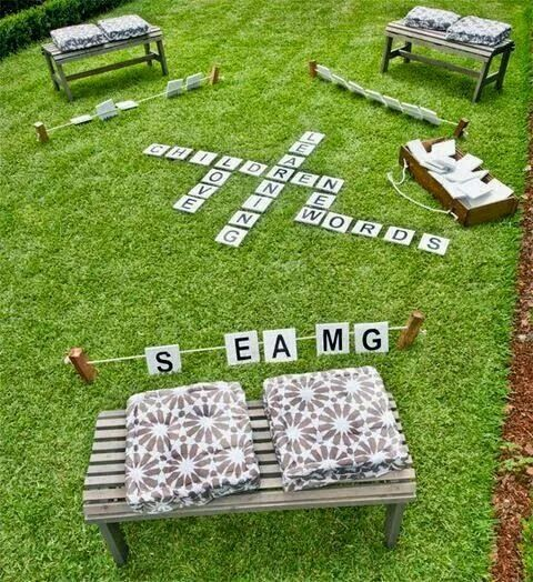 Life-sized scrabble in the backyard
