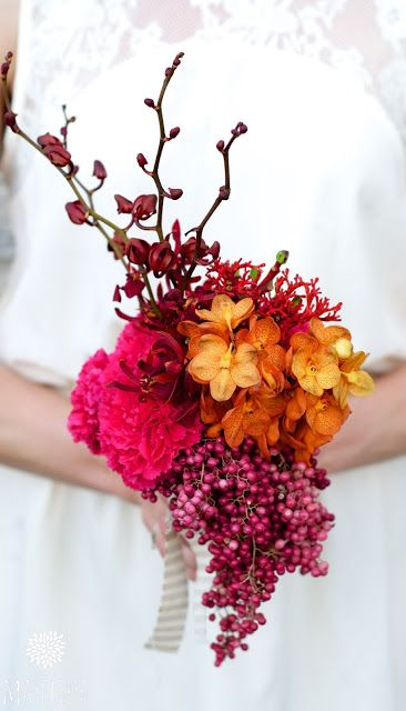 wedding bouquets with Dendrobium, Vanda, Schinus and Jatropha, colorful, pink and orange